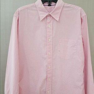 J Crew Mens Dress Shirt Size Medium Pink Checks